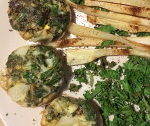 Egg Muffins with Spicy Parsnip fries & Kale Chips